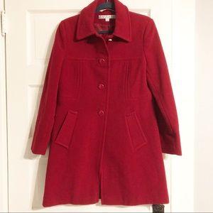 Larry Levine Cranberry Red EUC Wool Blend Coat - 6